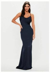 Tall Bridesmaid Navy Satin Cowl Maxi Dress, Navy