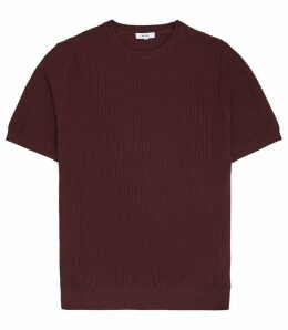 Reiss Casper - Textured Knitted T-shirt in Bordeaux, Mens, Size XXL