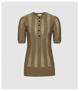 Reiss Lana - Knitted Top in Antique Gold, Womens, Size XXL