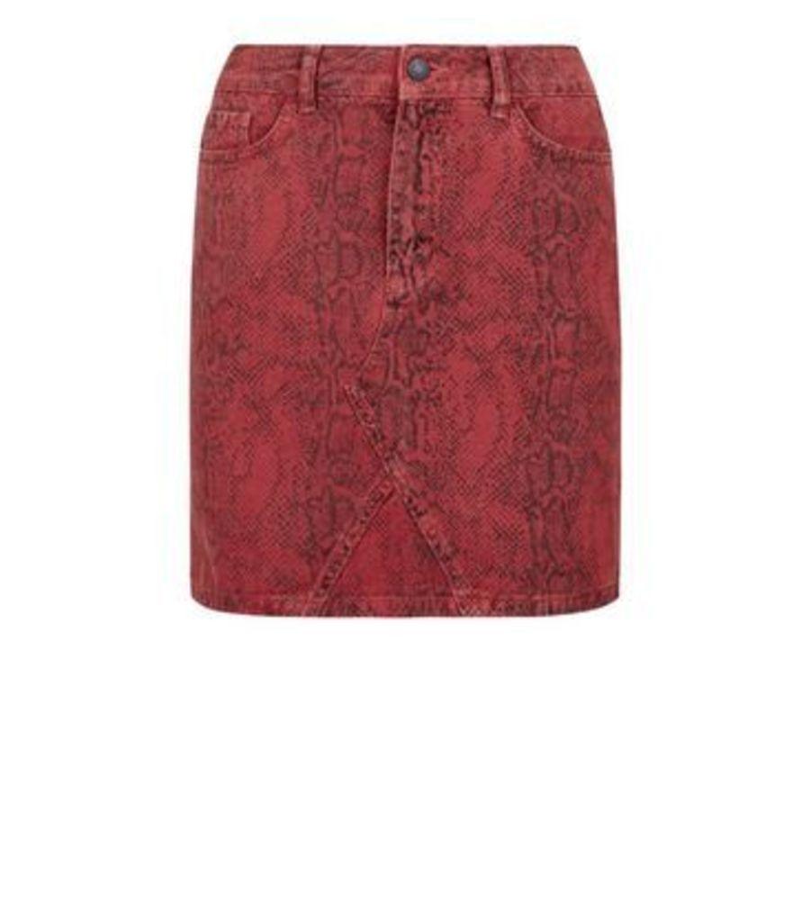 Red Snake Print Denim Skirt New Look