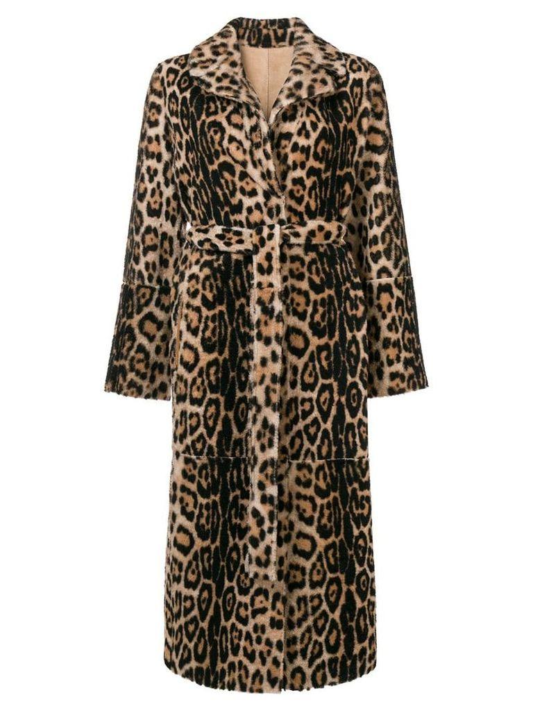 Yves Salomon leopard print fur coat - NEUTRALS