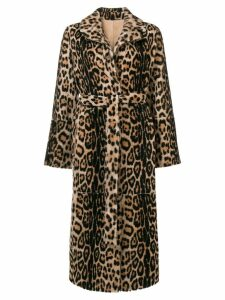 Yves Salomon leopard print fur coat - Neutrals