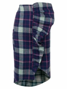 Natasha Zinko ruffled plaid skirt - Blue