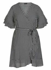 **City Chic Black Striped Wrap Dress, Black