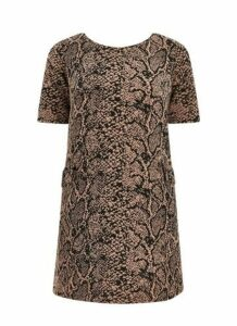 Brown Animal Print Shift Dress, Brown