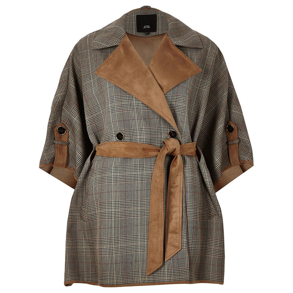 Womens Brown check robe cape jacket