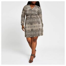 Womens Plus Brown snake print plisse swing dress
