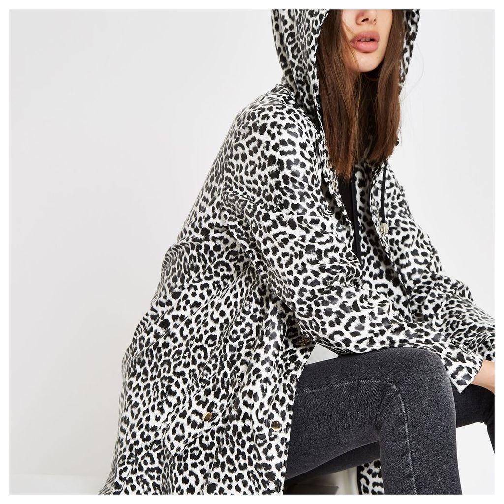 Womens White leopard print hooded raincoat