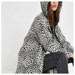 Womens White leopard print hooded raincoat