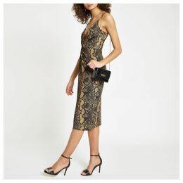 Womens Brown snake print twist front midi dress