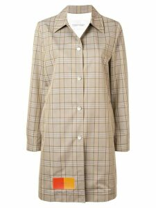 Calvin Klein patched glen check coat - NEUTRALS