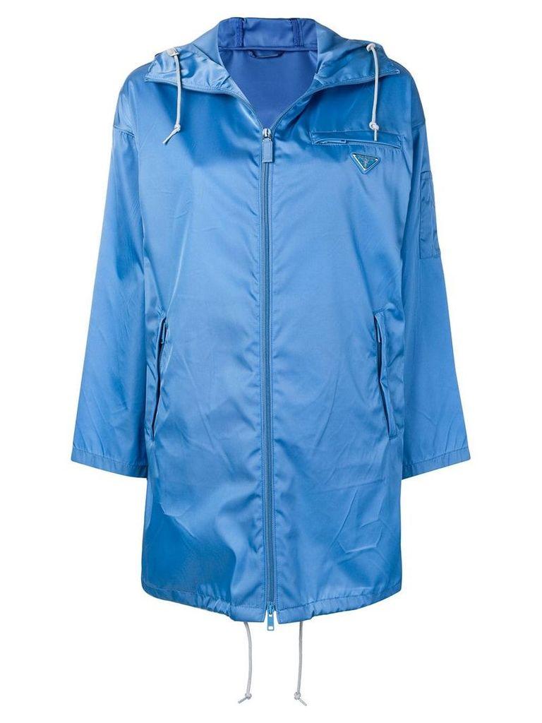 Prada hooded satin shell parka - Blue