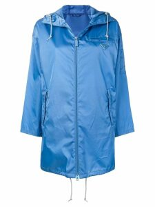 Prada hooded satin shell parka - Blue