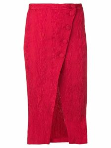 Alexa Chung split wrap front midi skirt - Red