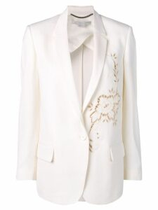 Stella McCartney Tonal flower embellished wool blazer - Neutrals
