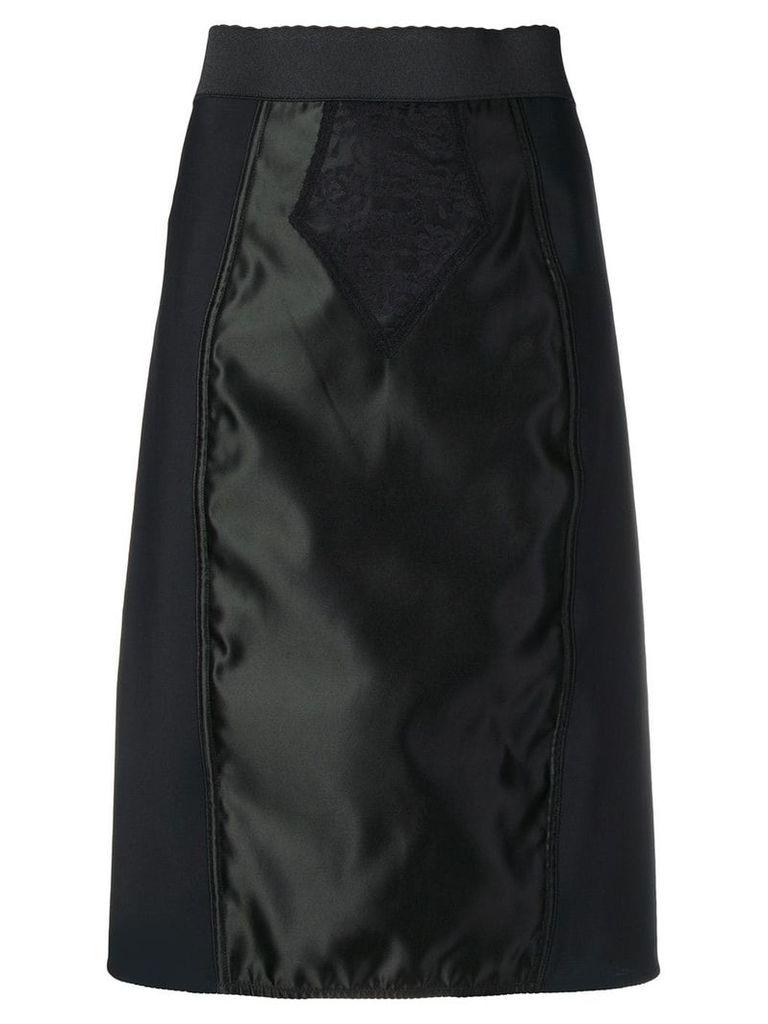 Dolce & Gabbana satin-panelled skirt - Black