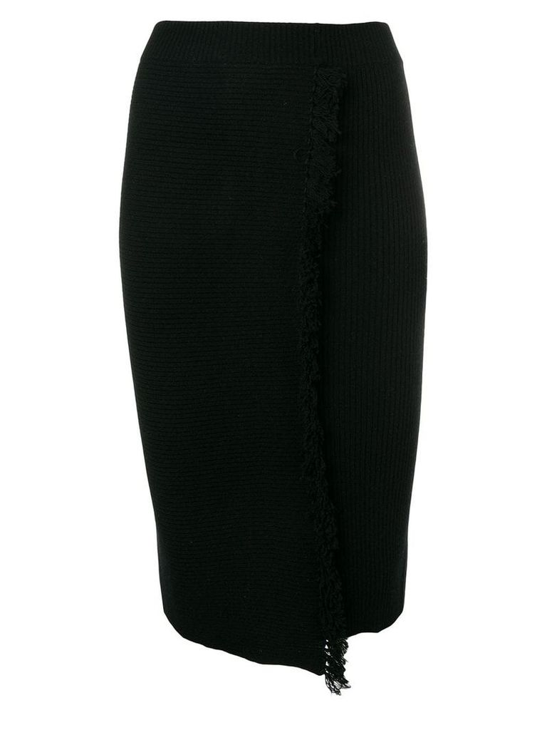 Cashmere In Love high-waisted fringed skirt - Black