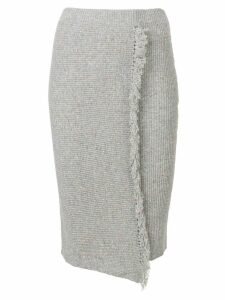 Cashmere In Love envelope fringed skirt - Grey