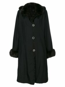 Liska contrast collar and cuff coat - Black