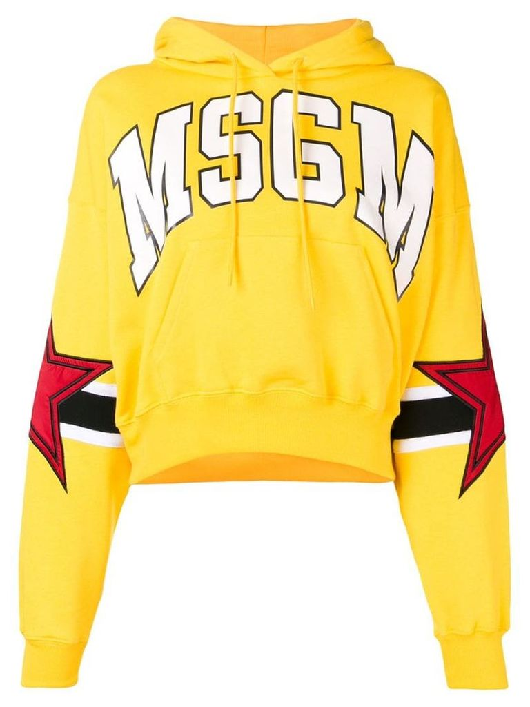 MSGM star patch logo hoodie - Yellow