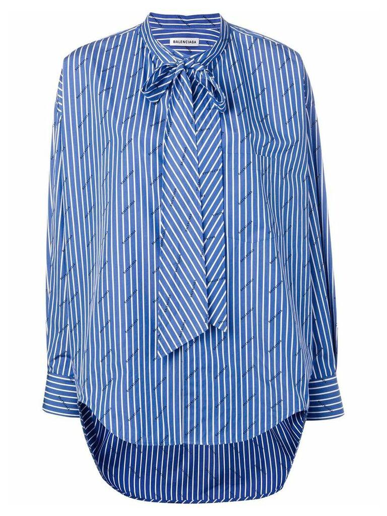 Balenciaga striped logo swing shirt - Blue