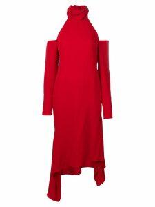Monse high neck drape hem dress - Red