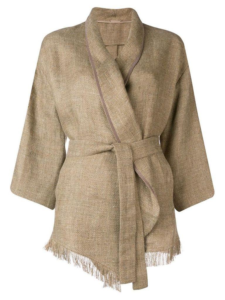 Brunello Cucinelli belted kimono jacket - Brown