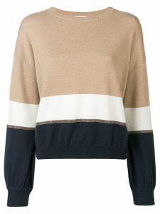 Brunello Cucinelli slouchy colour block sweater - Neutrals