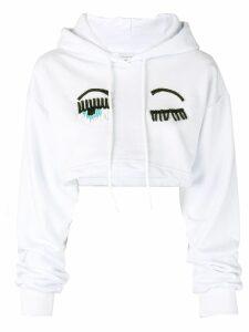 Chiara Ferragni cropped beaded winking hoodie - White
