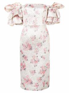 Alexa Chung floral puff-sleeve dress - Silver