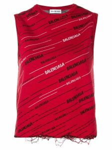 Balenciaga logo tank top - Red
