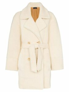 Joseph Jimmy belted double-breasted shearling coat - White