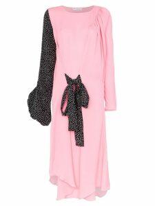 JW Anderson polka dot print balloon sleeve silk dress - Pink