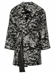 Josie Natori pagoda embroidered topper jacket - Black