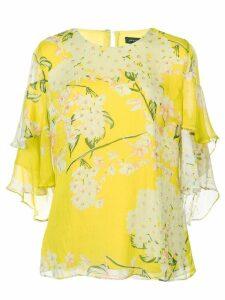 Josie Natori Hokkaido Blossom tiered blouse - Yellow