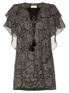 Saint Laurent paisley print ruffle silk mini dress - Black