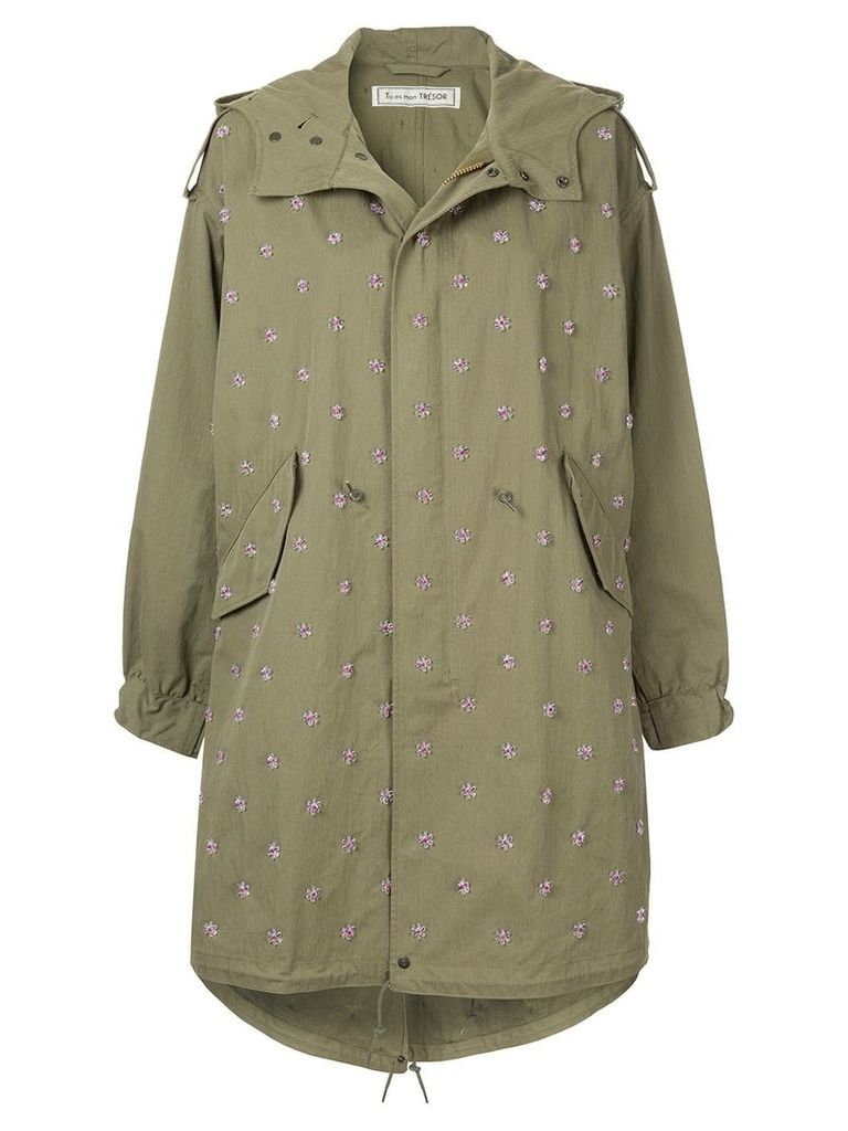 Tu es mon TRÉSOR flower beads fishtale parka - Green