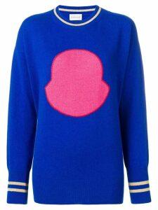 Moncler logo crew neck jumper - Blue