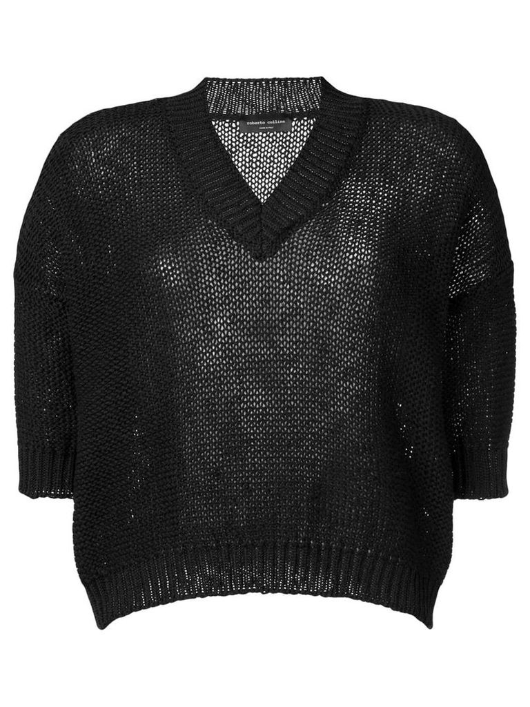 Roberto Collina shortsleeved knit top - Black