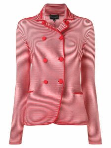 Emporio Armani ribbed double breasted blazer - Red