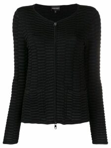 Emporio Armani ribbed zipped cardigan - Black