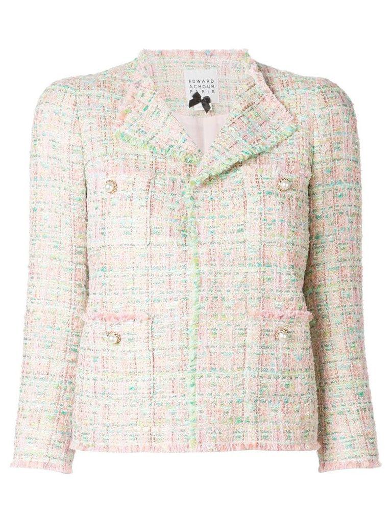 Edward Achour Paris pearl button tweed jacket - Pink