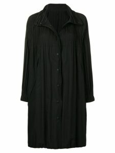 Pleats Please By Issey Miyake pleated detail button coat - Black