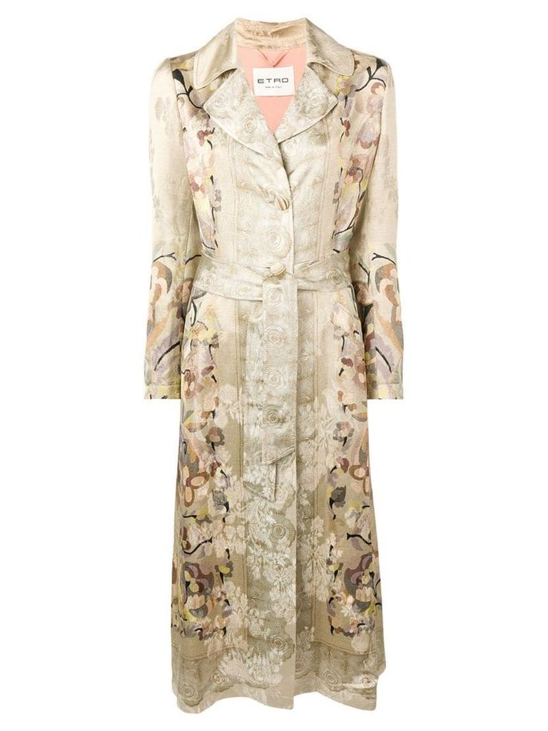 Etro floral trench coat - Neutrals