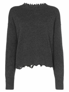 Helmut Lang distressed long sleeve wool-blend jumper - Grey
