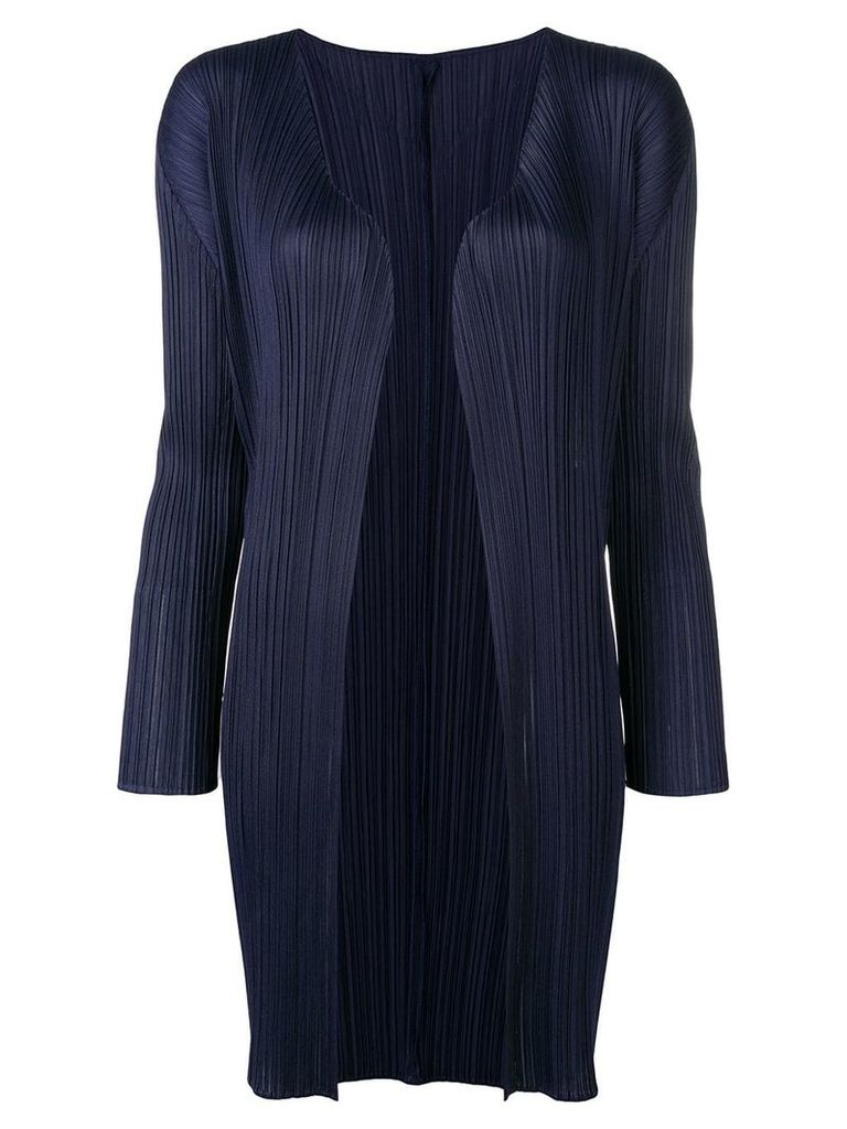 Pleats Please By Issey Miyake pleated open-front coat - Blue