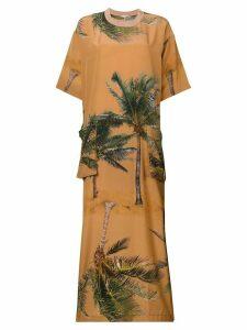 Natasha Zinko palm tree print maxi dress - Neutrals