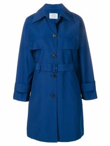 Prada belted mid-length trench coat - Blue