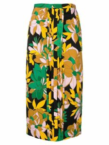 Nº21 pleated detail floral skirt - Black