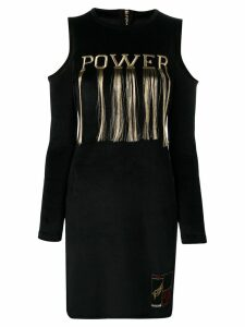 Roberto Cavalli embroidered 'power' dress - Black